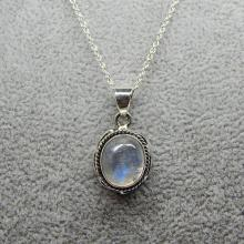 Rainbow Moonstone Necklace, Sterling Silver And Rainbow Moonstone Oval Pendant, Silver Pendant, Gem Stone Necklace