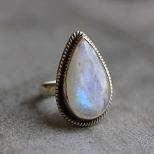 Rainbow Moonstone Ring - Ethnic - Statement ring - Artisan ring - Sterling silver- handmade ring  2
