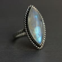 Rainbow Moonstone Ring - Ethnic - Statement ring - Artisan ring - Sterling silver- handmade ring