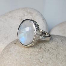Rainbow Moonstone Ring- Moonstone Ring- Moonstone Silver Ring- Stone Ring- Silver Rings- White Stone Rings- Gemstone Rings