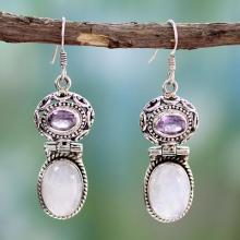 Rainbow Moonstone and Amethyst Dangle Earrings, 'Mystic'
