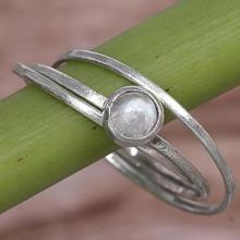 Rainbow Moonstone and Sterling Silver Solitaire Ring