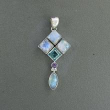 Rainbow Moonstone, Blue Topaz & Amethyst Pendant, Solid Sterling Silver Jewelry, Natural Multi Gemstone Pendant