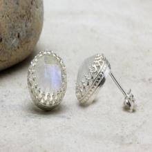 Rainbow moonstone earrings,silver post earrings,delicate round earrings,gemstone earrings,silver earrings