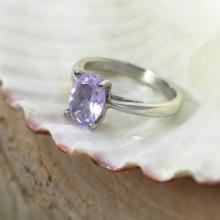 Rare Lavender Moon Quartz Sterling Silver Solitaire Ring