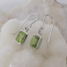 Rectangular Shaped Peridot Earrings- Rectangle Earrings- Gemstone Earrings- August Birthstone Earrings