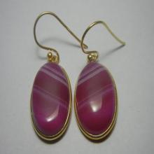 Red Banded Onyx Gold Plated Earrings, Gemstone Earrings