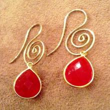 Red Carnelian Gemstone Earrings  Red Onyx Earrings Carnelian Earrings  Orange & Gold Gemstone Earrings