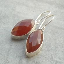 Red Marquise earrings - Marquise cut earrings - Red earrings - Faceted Carnelian earrings - Bezel earrings