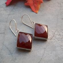 Red earrings - Faceted earrings - Carnelian earrings - Square earrings - Gemstone earrings - Bezel
