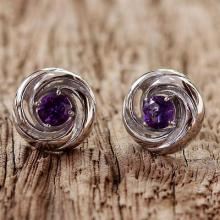 Rhodium Plated Amethyst Stud Earrings