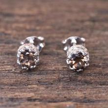 Rhodium Plated Smoky Quartz Stud Earrings