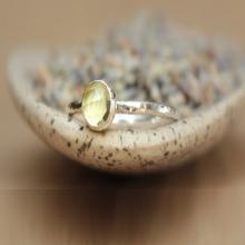 Rose Cut Lemon Quartz Sterling Stacking Ring - Lemon Quartz Stack Ring - Rose Cut Gemstone Ring - Promise Ring - Yellow Silver Stacking Ring