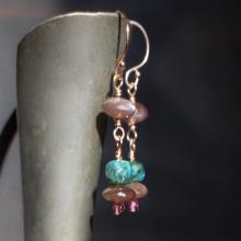 Rose Gold Gemstone Earrings Labradorite Moonstone Rose Gold Earrings Unique Gifts for Her Green Labradorite & Chocolate Moonstone