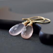 Rose Quartz Earrings Pink Gemstone Earrings Gold Rose Quartz pink Quartz Wire Wrapped Briolette Earrings French Wires