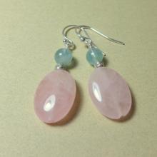 Rose Quartz Earrings - Aquamarine Earrings - Pink Earrings - Natural Stone Jewelry - Handmade Jewelry - Gemstone Earrings