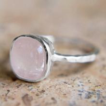 Rose Quartz Ring - with Textured Sterling Silver