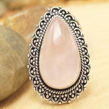Rose Quartz Ring Sz 8, Silver Rose Quartz Ring, Statement Ring, Crystal Ring, Gemstone Ring, Boho Ring, Cocktail Ring
