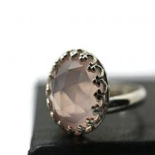 Rose Quartz Ring, Natural Gemstone Jewelry, Pink Jewel Ring, Sterling Silver Jewelry, Handforged Ring, Romantic Jewelry