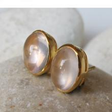 Rose Quartz Stud- Quartz Earrings- Pink Earring- Rose Gold Earring- Gemstone Earring- Pink Quartz Earring- Pink Stud Earring