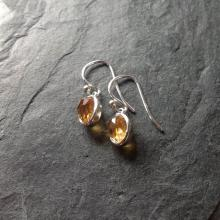 Rose cut gemstone drop earrings with citrine.
