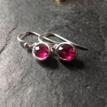Rose cut gemstone drop earrings with rhodolite garnet