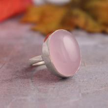 Rose quartz ring, sterling silver ring, Gemstone ring, bezel set ring, pink ring