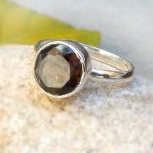 Round Smoky Quartz Sterling Silver Ring - Stacking Ring - Gemstone Ring - Brown Stone Ring - silver Artisan Ring