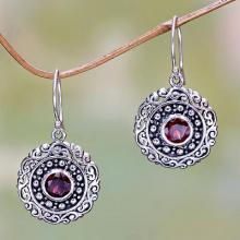 Round Sterling Silver and Garnet Dangle Earrings, 'Solar Flares'