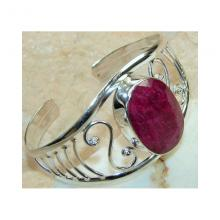Ruby Faceted Bangle 925 Sterling Silver d