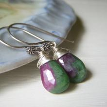 Ruby in Zoisite Earrings on Sterling Silver, Wirewrapped Teardrop Burgundy Gemstone Briolette Minimalist Dangle
