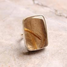 Rutil Quartz ring - square ring - Bezel ring - Gemstone ring - 925 Sterling Silver ring - Gift for her