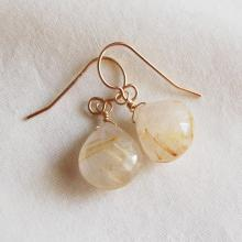 Rutilated Quartz Earrings , Gemstone Earrings , Gold Filled Quartz Earrings , Gold Rutilated Quartz