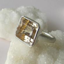 Rutile Ring- Rectangle Rings- Quartz Rings- Stone Rings- Statement Ring- Gemstone Ring- Silver Quartz Ring