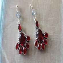 Saluki Earrings Garnet Gemstone Earrings Antique Earrings Crystal Dangle Earrings Majestic Silver Dangle Earrings