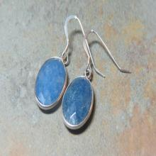 Sapphire and Sterling Silver Earrings - Blue Earrings - Gemstone Earrings - Sapphire Earrings