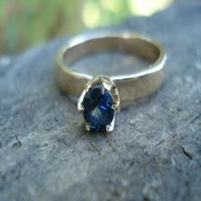 Sapphire solitaire gold ring, blue sapphire gemstone ring, September birthstone, handmade engagement ring, conflict free
