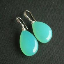 Sea foam green earrings - Chalcedony earrings - Tear drop earrings - Wire wrapped earrings - Jewelry gift ideas