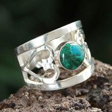 Shaped Sterling Silver Band Chrysocolla Ring