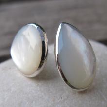 Shell Earrings- Mother of Pearl Earrings- Pearl Stud Earrings-Stone Studs- Stone Post Earrings- Mother of Pearl Stud Earrings
