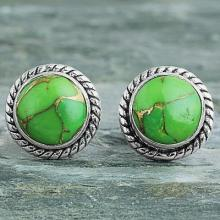 Green Composite Turquoise Stud Earrings