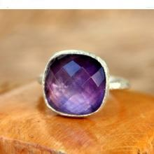 Silver Amethyst Ring - Gemstone Ring - Natural Amethyst Ring - Purple Ring
