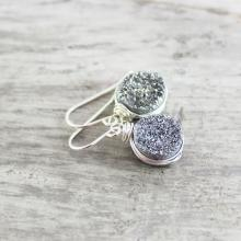 Silver Druzy Earrings, Wire Wrap Earrings, Druzy Gemstone Earrings, Sterling Silver Earrings, Silver Drusy Jewelry, Silver Dangle Earrings