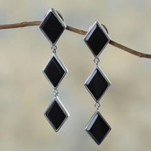 Silver Earrings with Onyx, 'Night Diamonds'