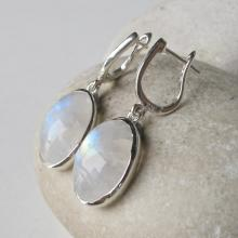 Silver Earrings- Moonstone Earrings- Rainbow Moonstone Earrings- June Birthstone Earrings- Earrings- Leverback Earrings- Bezel