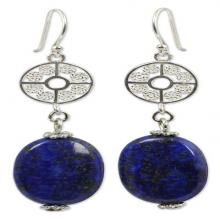 Silver Filigree and Lapis Lazuli Dangle Earrings, 'Filigree Sky'