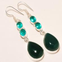 Silver Green Onyx Drop Earrings - Emerald Quartz Earrings - Dangle Earrings Jewelry - Gemstone Earring Jewelry
