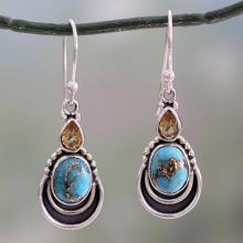 Silver Hook Earrings with Citrine and Composite Turquoise, 'Eternal Allure'