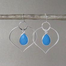 Silver Lotus Turquoise Earrings - Silver Hoop Earrings - Hoop Earrings