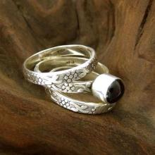 Silver Stacking Garnet Rings